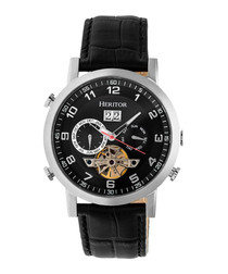 Edmond black & silver-tone leather watch