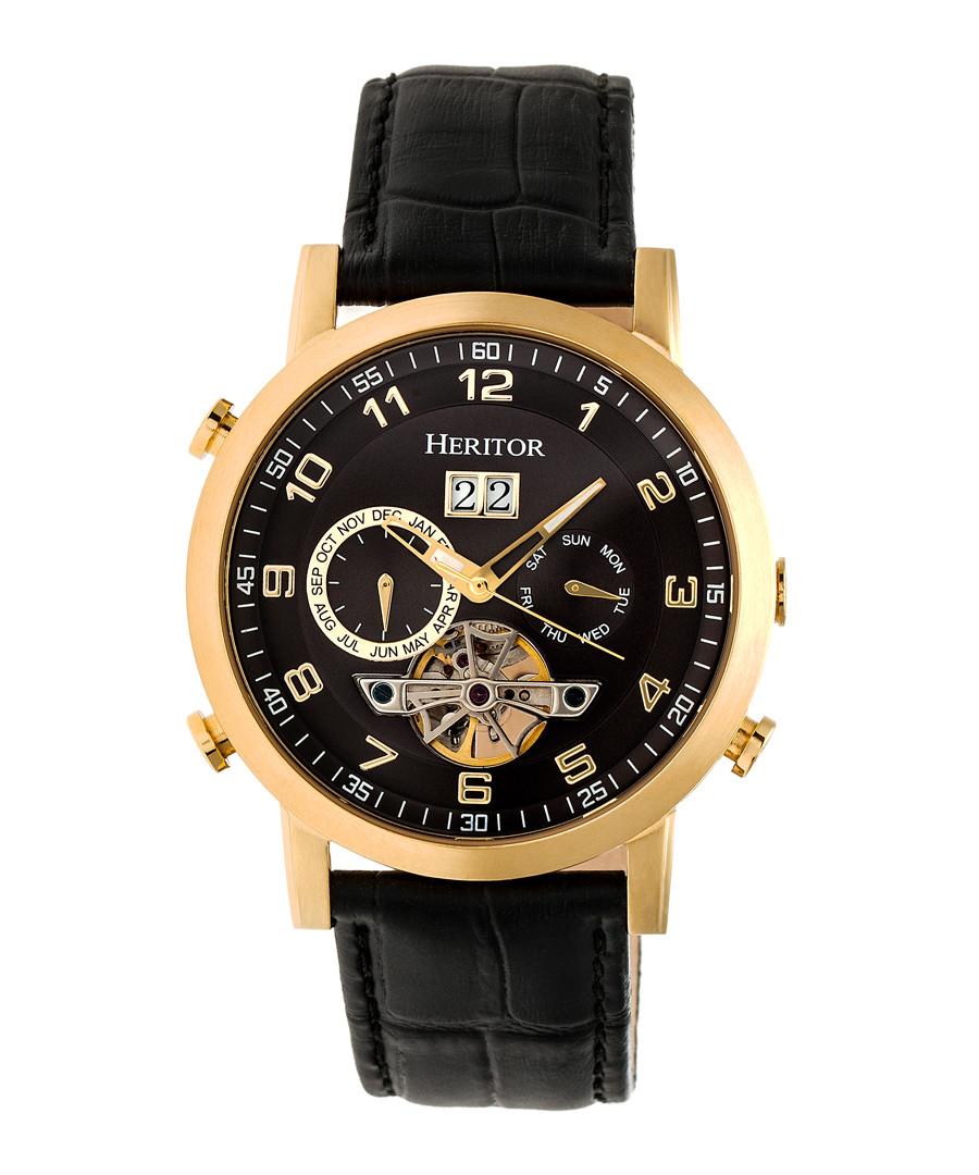Edmond black & gold-tone leather watch Sale - heritor automatic