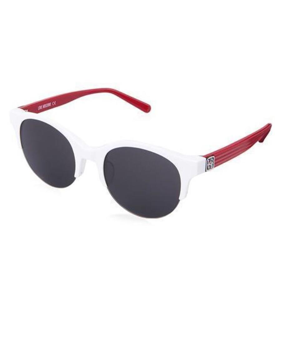 White, red & black round sunglasses Sale - moschino love