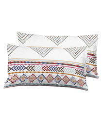 2pc multi-coloured pure cotton cushion