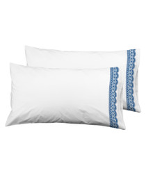 2pc white & blue pure cotton cushion