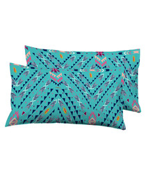 2pc turquoise pure cotton cushion
