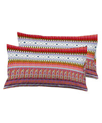 2pc multi-colour pure cotton cushion