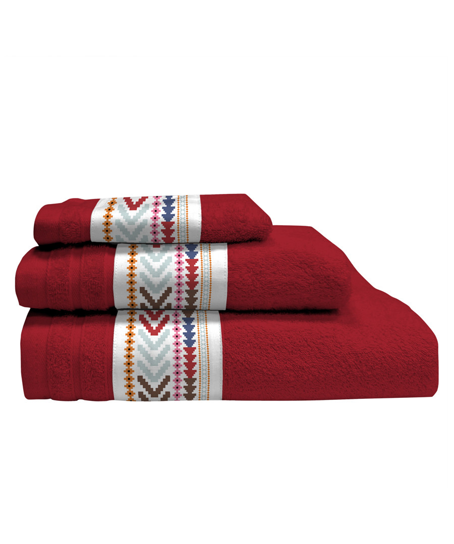 3pc red pure cotton towels Sale - Derhy