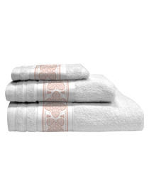 3pc white & pink pure cotton towels