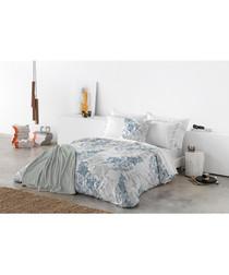 Blue pure cotton king duvet cover