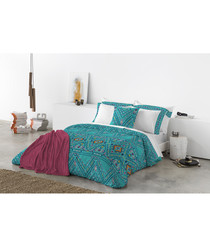 Turquoise pure cotton king duvet cover