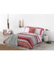 Red pure cotton s.king duvet cover