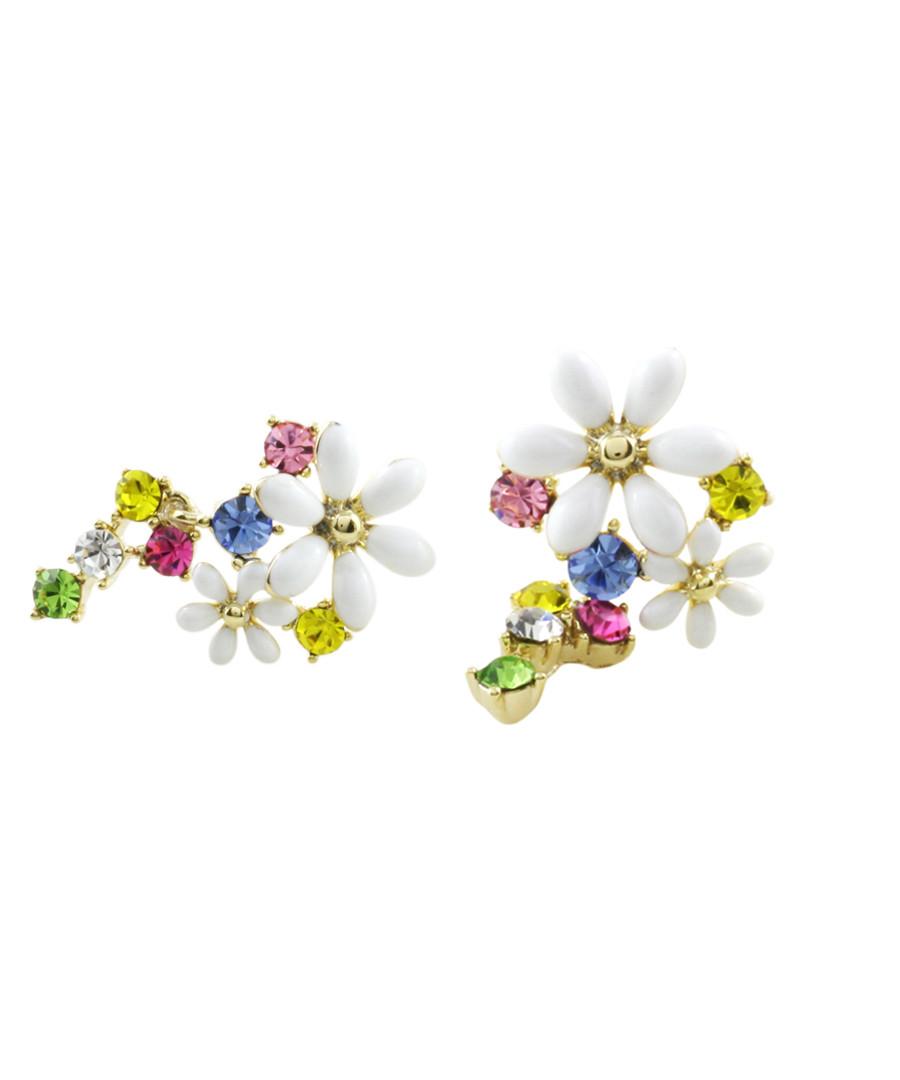 Multi-colour 14ct gold-plated earrings Sale - fleur envy