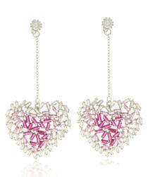 Heart Glitters pink gold-plated earrings