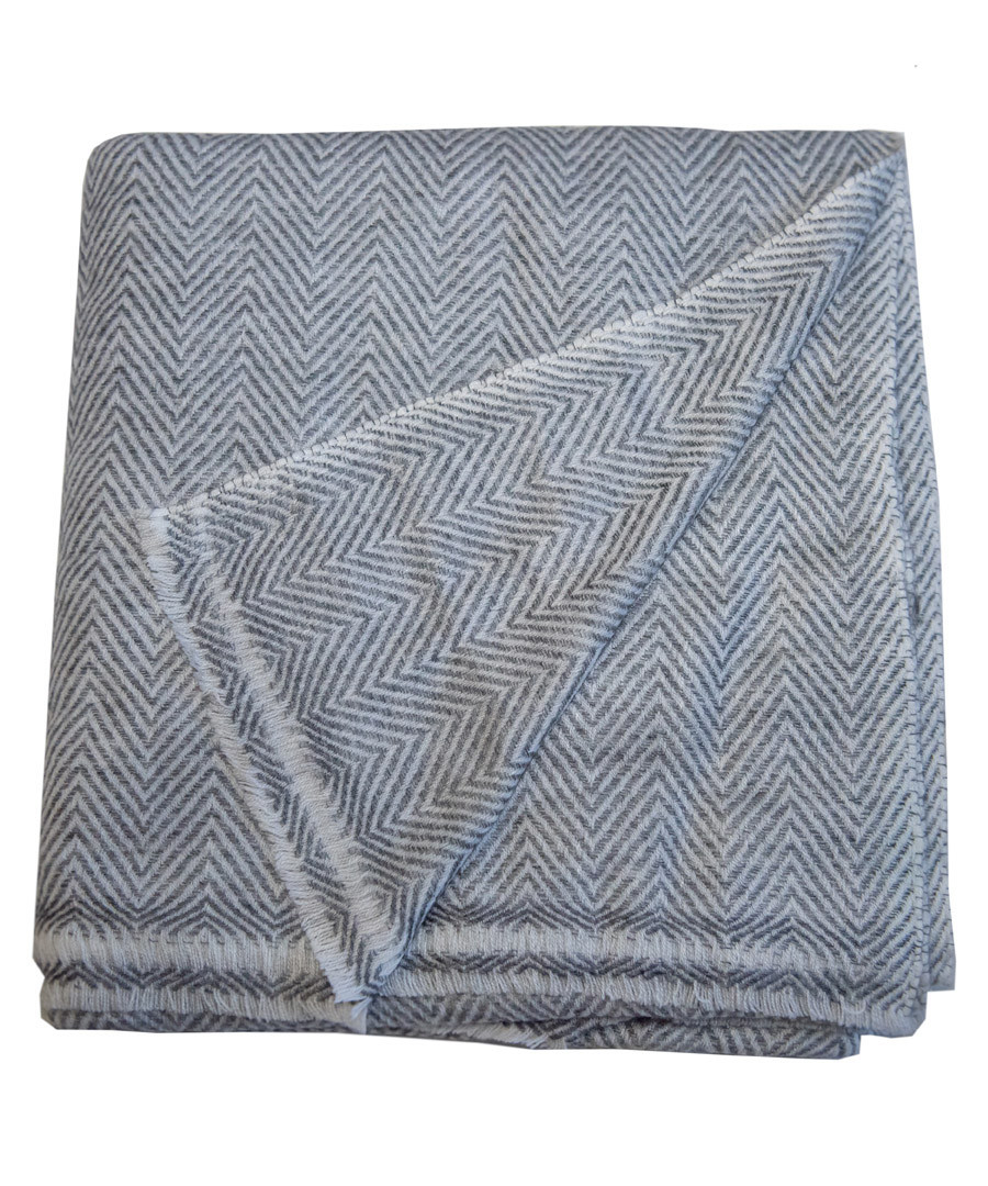 Dark grey pure cashmere throw 135x255cm Sale - Panache Handicraft Ltd