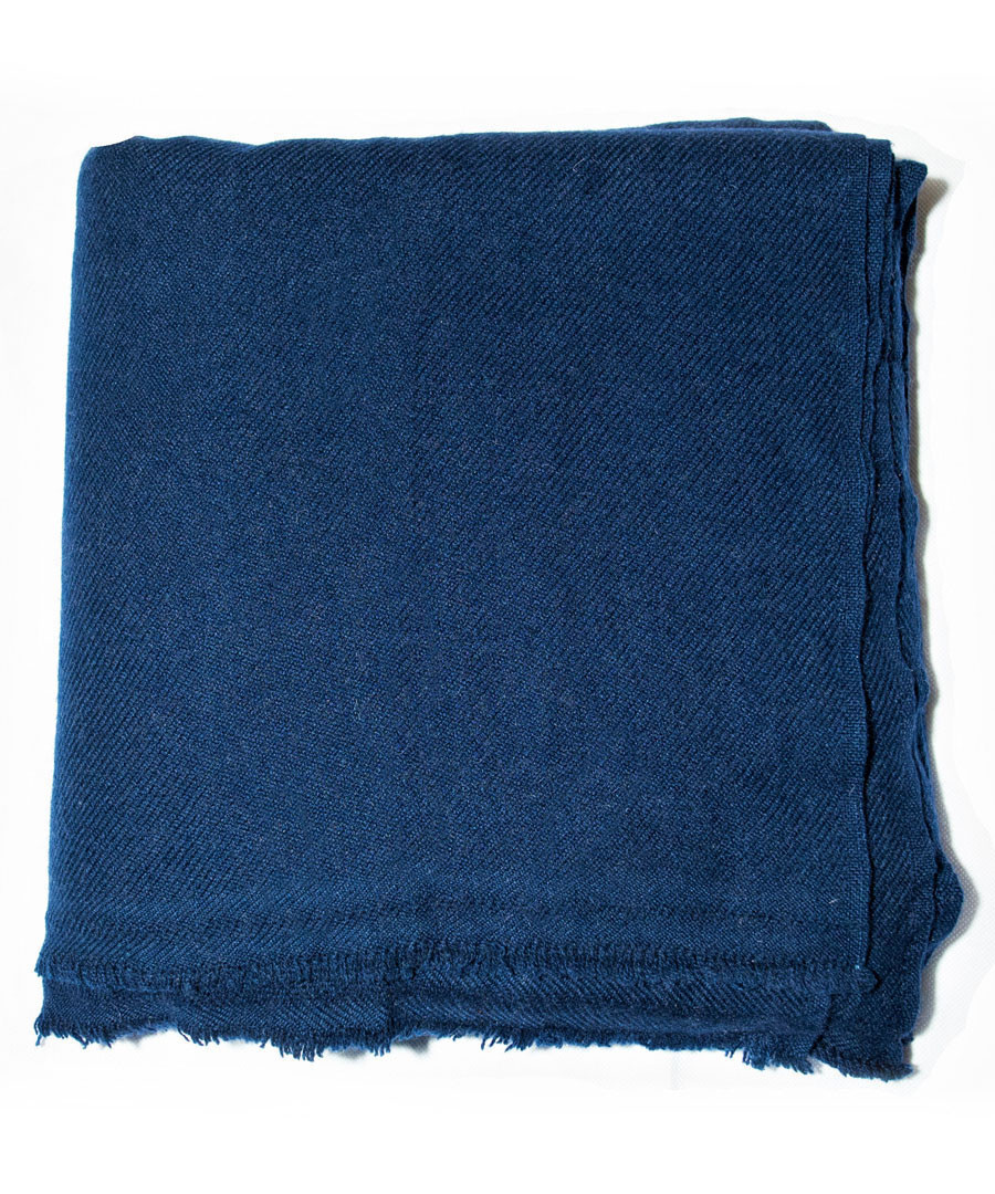 Navy pure cashmere throw 135x255cm Sale - Panache Handicraft Ltd