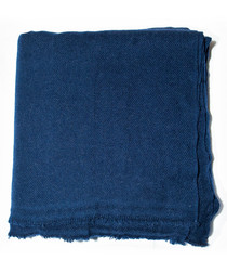Navy cashmere plain throw