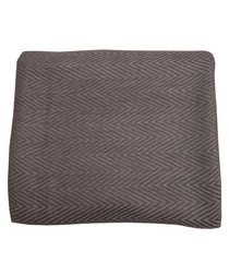 Grey cashmere herringbone throw