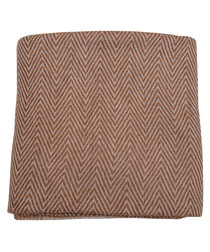 Beige cashmere herringbone throw