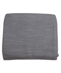 Blue & grey cashmere herringbone throw