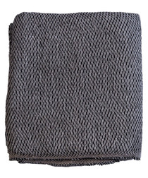 Grey & black cashmere interlock throw