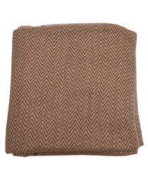 Bright beige cashmere herringbone throw
