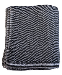 Black & white cashmere herringbone throw