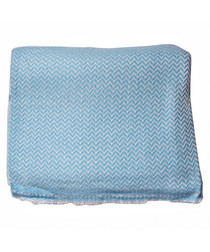 Blue cashmere herringbone throw