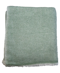 Green cashmere twill throw