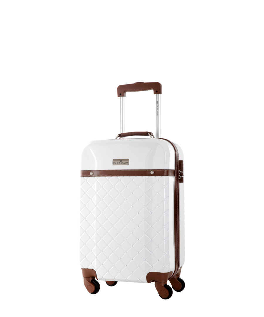White with Brown accents spinner suitcase Sale - platinium