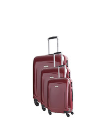Clarks 3pc red spinner suitcase nest