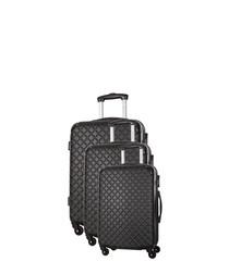 Sifnos 3pc black spinner suitcase nest