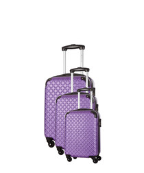 Sifnos 3pc purple spinner suitcase nest