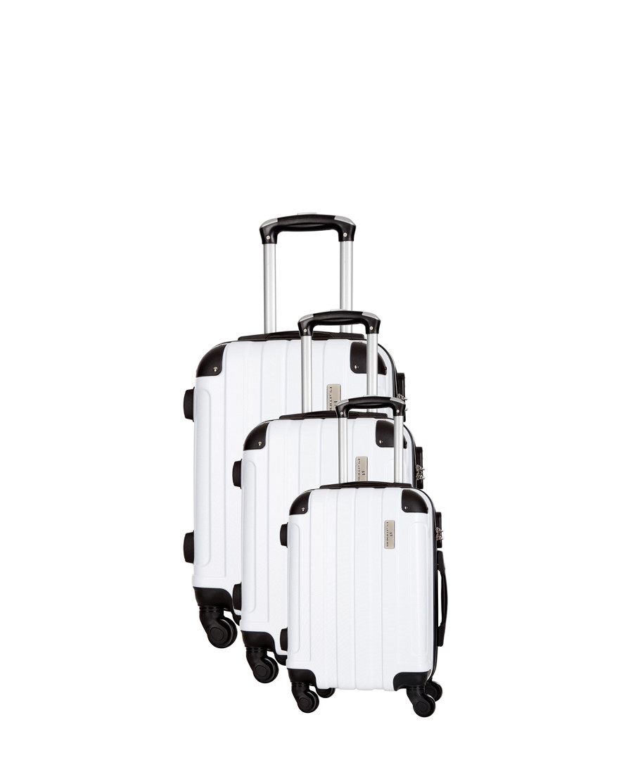 Delos 3pc white spinner suitcase nest Sale - Platinium Luggage