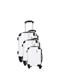 Delos 3pc white spinner suitcase nest