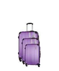 Delos 3pc purple spinner suitcase nest