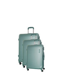 Buccia 3pc green spinner suitcase nest