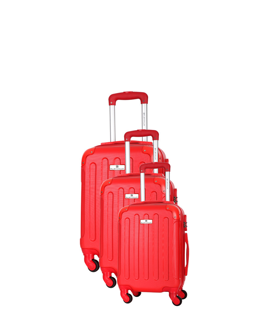 Allgood 3pc red spinner suitcase nest Sale - platinium
