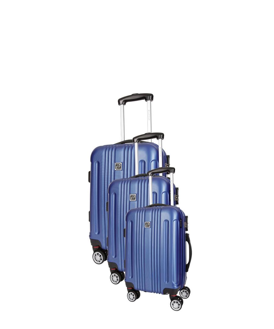 Stafford 3pc blue spinner suitcase nest Sale - platinium