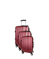 Stafford 3pc red spinner suitcase nest