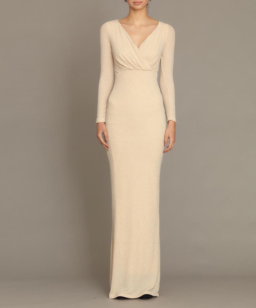 Cream v-cut maxi dress Sale - zibi london