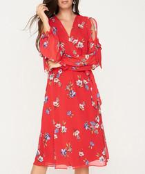 Red long sleeve knee length dress