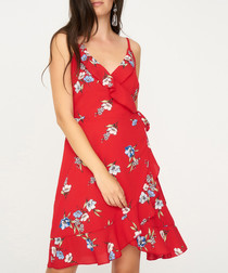 Red sleeveless floral mini dress
