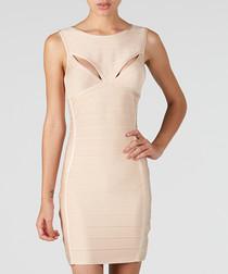Nude sleeveless mini dress