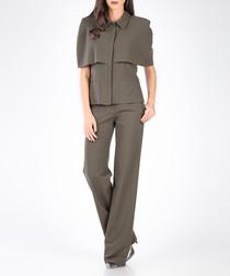 Khaki cape blouse