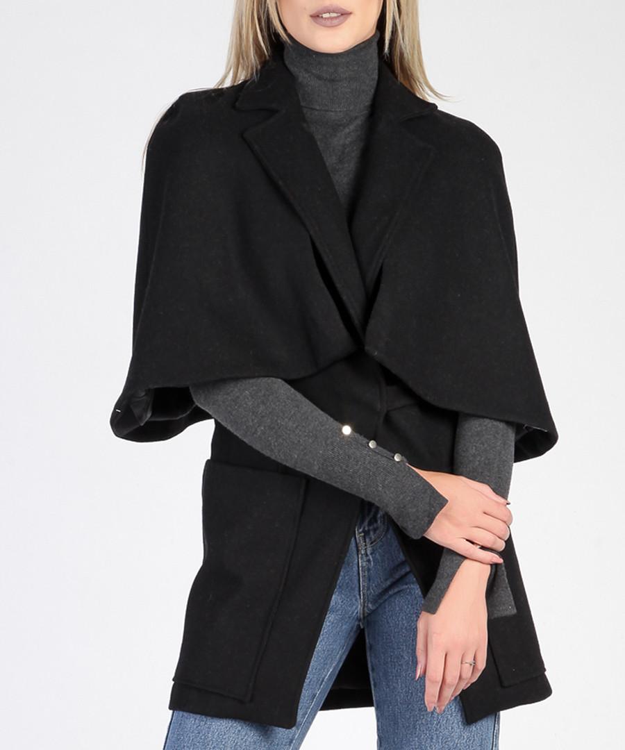 Black wool blend lapel cape coat Sale - ISABEL BY ROZARANCIO