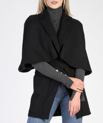 Black wool blend lapel cape coat