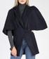 Black wool blend lapel cape coat Sale - ISABEL BY ROZARANCIO Sale