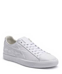 Clyde white lace-up sneakers