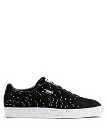 Black & white dash lace-up sneakers