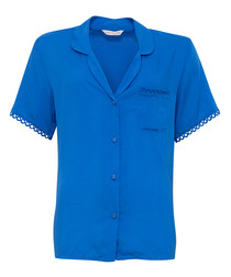 Blue short sleeve pyjama shirt