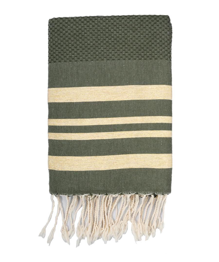 Hamptons khaki & gold cotton towel Sale - FEBRONIE