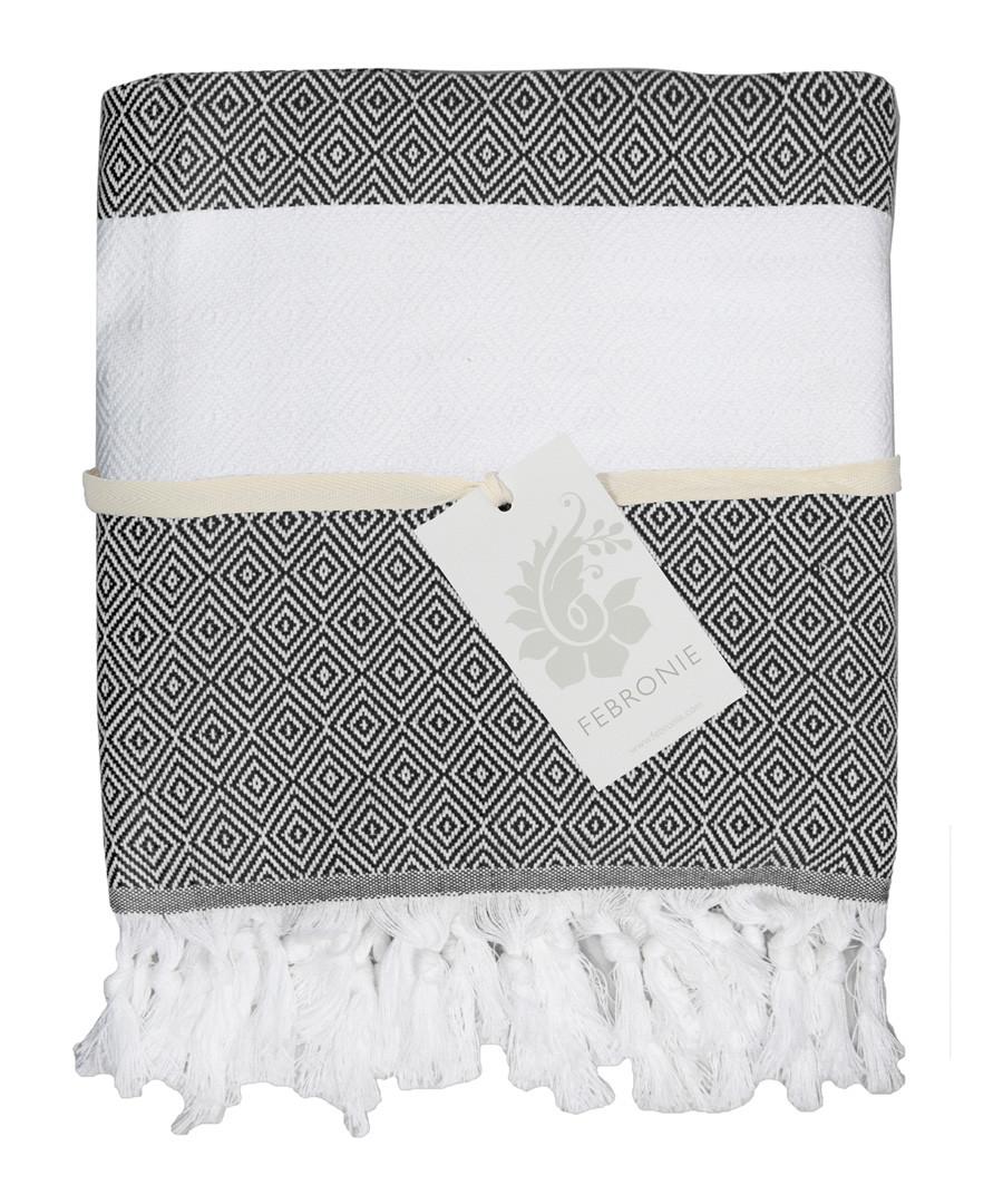 Courchevel black pure cotton towel Sale - FEBRONIE