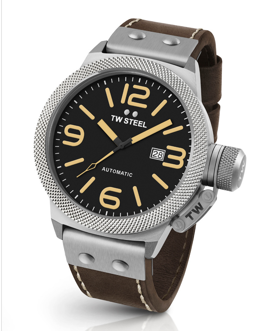 Black, brown & silver leather watch Sale - tw steel